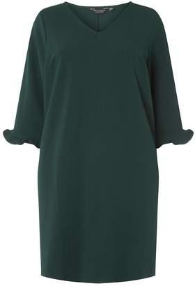Dorothy Perkins **DP Curve Green V-Neck Frill Shift Dress