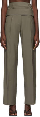 CHRISTOPHER ESBER Green Double Belted Trousers