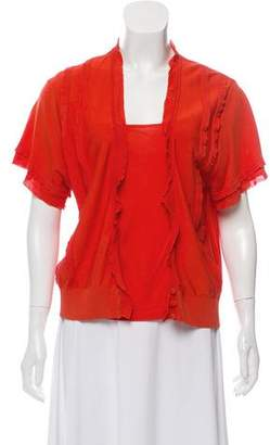 Valentino Ruffle-Accented Blouse Set