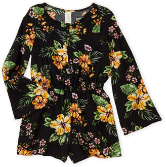 Over The Top By Sara Sara (Girls 7-16) Floral Long Sleeve Romper