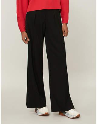 Stella McCartney Side-stripe high-rise straight wool trousers