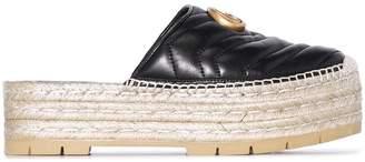 Gucci black GG pilar 50 raffia and leather espadrilles