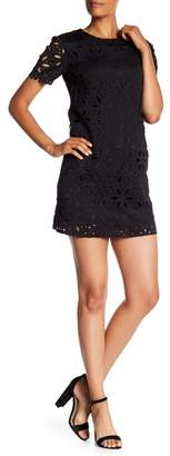 Trina Turk Zap Short Sleeve Laser Cut Dress