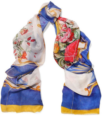 Dolce & Gabbana - Printed Silk-voile Scarf - White $545 thestylecure.com