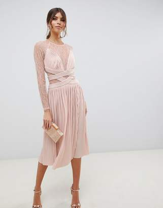 Asos Design DESIGN lace and pleat midi dress