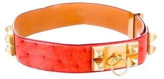 Hermes Vintage Ostrich Collier de Chien Belt