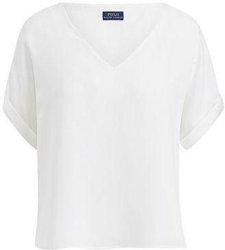 Polo Ralph Lauren Silk V-Neck Tee $165 thestylecure.com