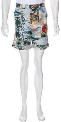 Valentino Hawaiian Print Flat Front Shorts