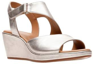 c19033fca956 at Debenhams · Clarks SHOES Gold Leather  Un Plaza Sling  Mid Wedge Heel  Sandals