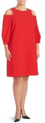 Eliza J Plus Cold-Shoulder Crepe Shift Dress