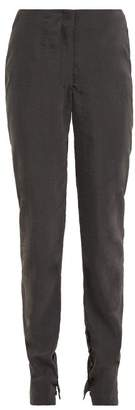 Lemaire Buttoned Cuff Silk Blend Trousers - Womens - Dark Grey