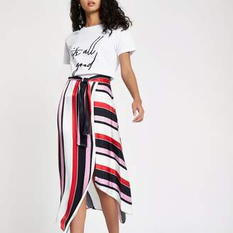 River Island Womens Red stripe tie waist asymmetric midi skirt