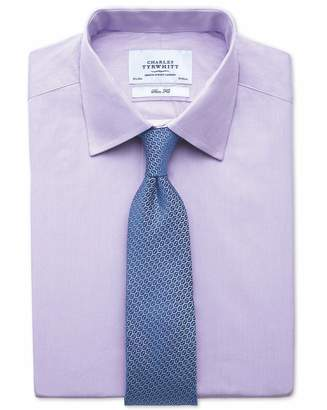 Charles Tyrwhitt Slim Fit Fine Stripe Lilac Cotton Dress Shirt French Cuff Size 16/34
