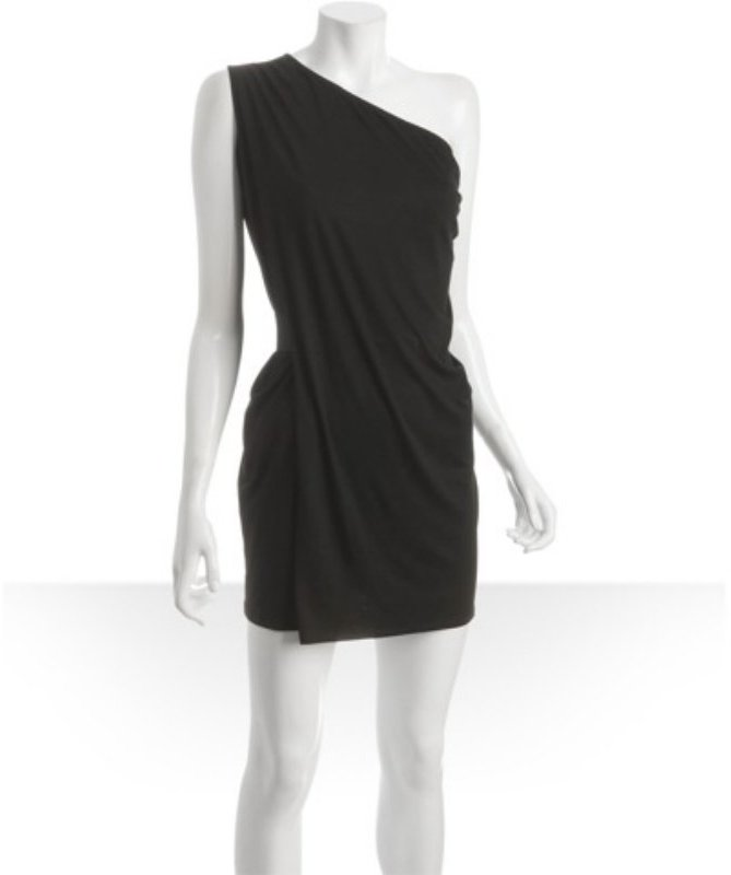 T-Bags black jersey drape one shoulder dress