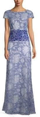 Tadashi Shoji Floral Jacquard Cap-Sleeve Gown