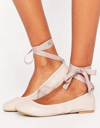 Call it Spring Call It Spring Conboy Blush Ribbon Tie Ballet Flat Shoes $56 thestylecure.com