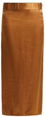 Ann Demeulemeester Belted Crinkled Satin Skirt - Womens - Brown
