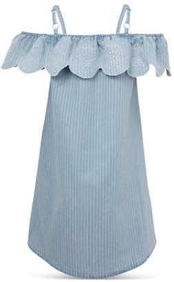BCBGirls Girls' Striped Denim Off-the-Shoulder Dress - Big Kid