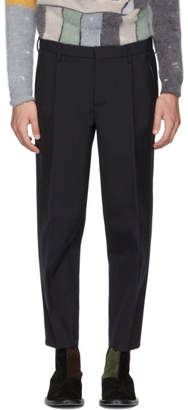 Kolor Navy Wool Pleated Trousers