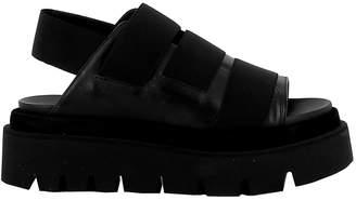Elena Iachi Black Leather/fabric Sandals