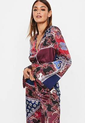 Missguided Burgundy Navy Floral Print Wrap Over Satin Crop Top