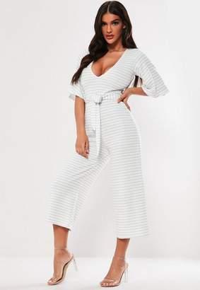 Missguided white stripe kimono sleeve culotte Romper