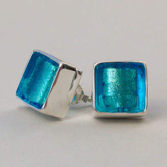 Murano Claudette Worters Glass Square Silver Stud Earrings