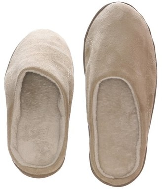 BEIGE Deluxe Comfort Men's Indoor/Outdoor Slip-On Microsuede Memory Foam House Slippers, Size 7-8 Double-Side Stitched Microsuede Exterior Comfy Plush Micro Fleece Lining Durable Non-Marking Rubber Sole,