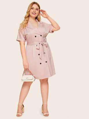 Shein Plus Notched Collar Belted Double Breasted Dress