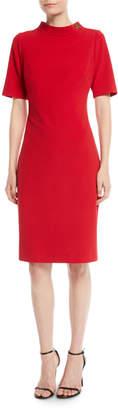 Badgley Mischka Turn-Lock Faille Short-Sleeve Sheath Dress