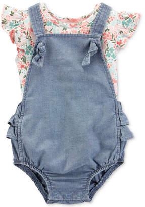 Carter's Carter Baby Girls 2-Pc Floral-Print Flutter Cotton T-Shirt & Denim Shortall Set