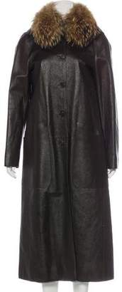 Prada Fox-Trimmed Leather Coat