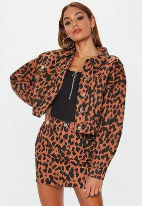 Missguided Rust Leopard Print Cropped Denim Jacket Co-Ord