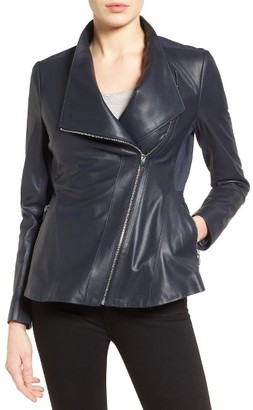 Women's Via Spiga Asymmetrical Zip Leather & Ponte Jacket $398 thestylecure.com