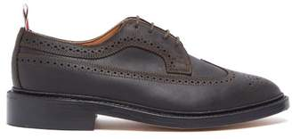 Thom Browne Longwing Brushed Leather Brogues - Mens - Dark Brown
