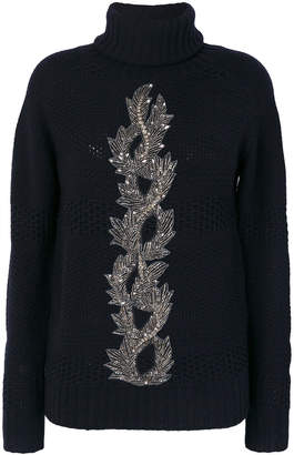 Jo No Fui bead embroidery turtleneck jumper