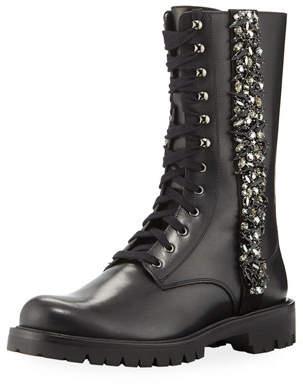 Rene Caovilla Kadesha Crystal-Embellished Combat Boots