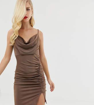 Asos DESIGN slinky ruched cowl mini dress