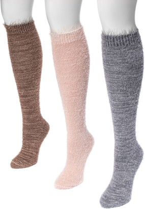 Muk Luks Women's 3 Pair Pack Feather Yarn KneeHigh Socks