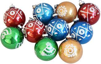 One Kings Lane Vintage Fancy Christmas Ornaments w/Box - Set of 10