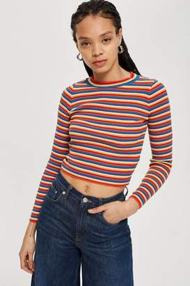 Topshop Rainbow Striped Knitted Top