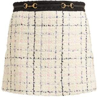 Gucci Horsebit Cotton Blend Boucle Tweed Mini Skirt - Womens - Ivory Multi