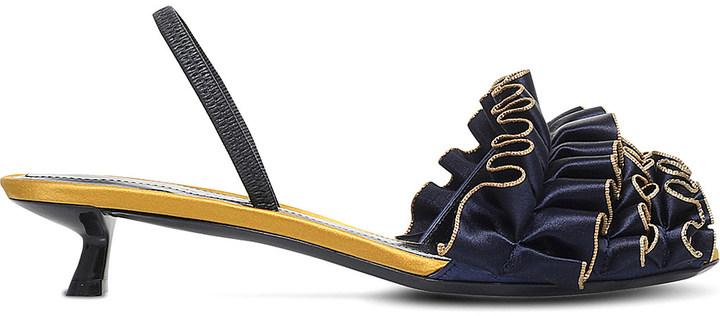 MARCO DE VINCENZO Ruffle satin slingback kitten heels