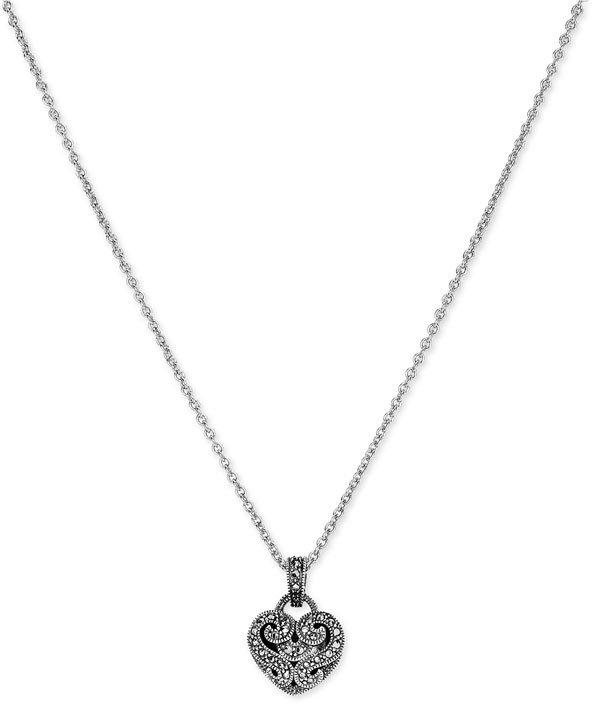 Judith Jack Marcasite Heart Pendant Necklace