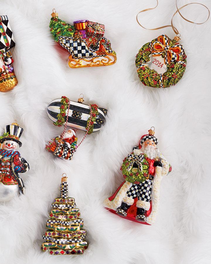 Mackenzie Childs MacKenzie-Childs Deck the Halls Santa Christmas Ornament