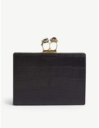 Alexander McQueen Black Jewelled Two Ring Clutch Bag