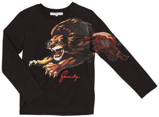 Givenchy Boy's Long-Sleeve Lion Graphic Tee, Size 4-10