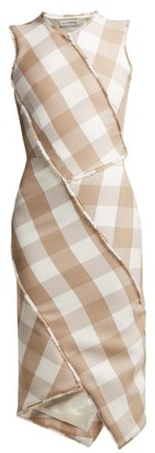 Altuzarra Gina Checked Wool Blend Dress - Womens - Beige Multi