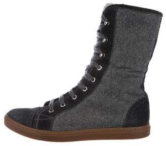 Brunello Cucinelli Fur-Trimmed High-Top Sneakers