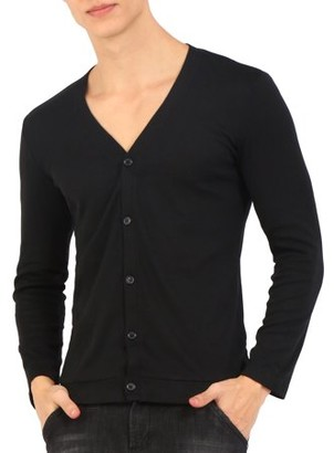 Unique Bargains Mens Stretchy V Neck Single Breasted Long Sleeve Knitted Cardigan